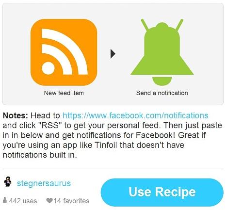 recetas IFTT para facebook en Android