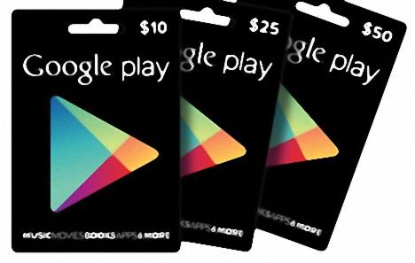 tarjetas de regalo y codigos promocionales de Google Play