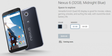 Nexus 6 en Play Store