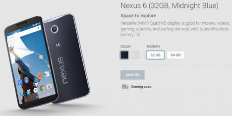 Nexus 6 en Play Store