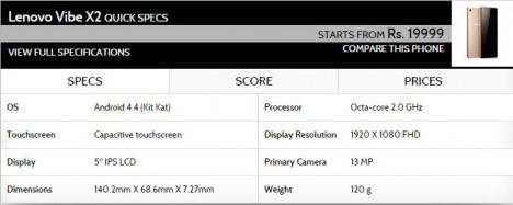 Especificaciones de Phablet Android Lenovo VIBE X2