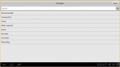Opciones adicionales en cRadio para Android