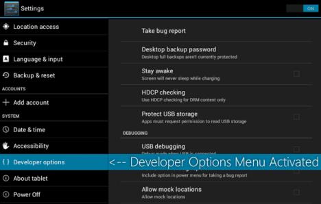 Activar opciones de desarrollador