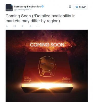 Mensaje de Twitter sobre Galaxy S6 Edge Iron Man