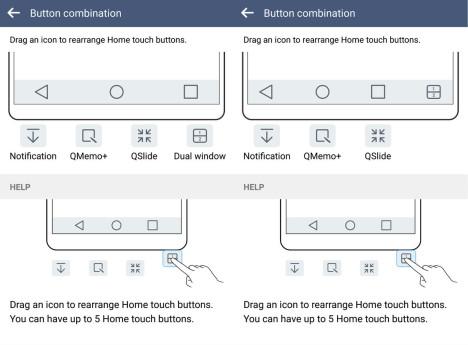 Opciones para personalizar los bótones en el LG G4