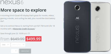 150 US.D. de descuento para el Nexus 6 de Motorola