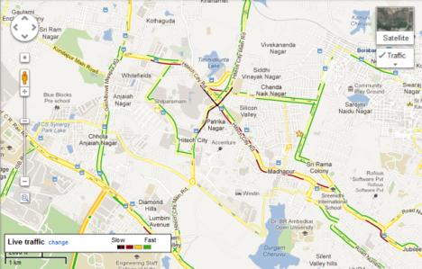 Tráfico en tiempo real en los Mapas de Google para Adroid