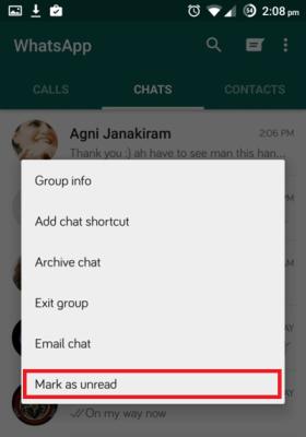 Marcar una conversación WhatsApp como no leída