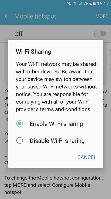 compartir WiFi con el Samsung Galaxy S7
