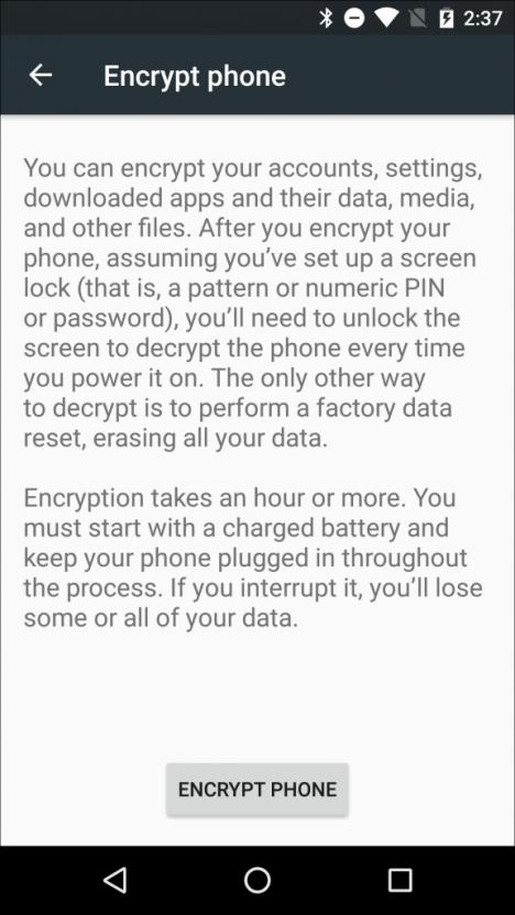 Cifrar un teléfono móvil Android