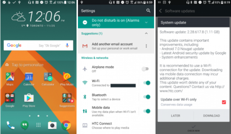 HTC 10 con Nougat Android 7.0