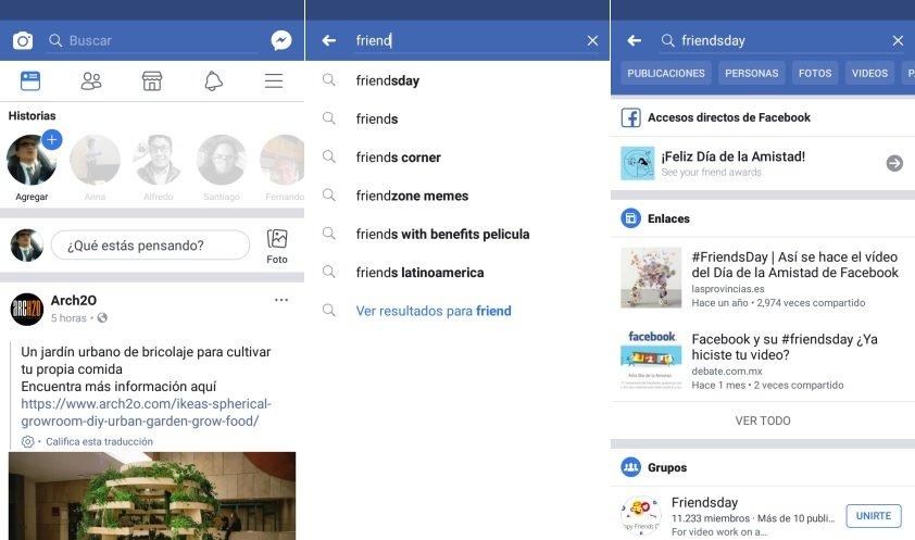 Dia de la amistad con Facebook en Android