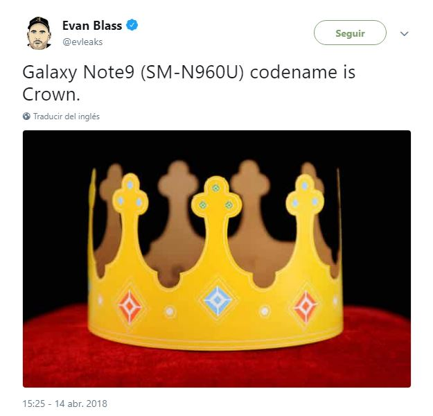 Samsung Galaxy Note 9 crown tweet