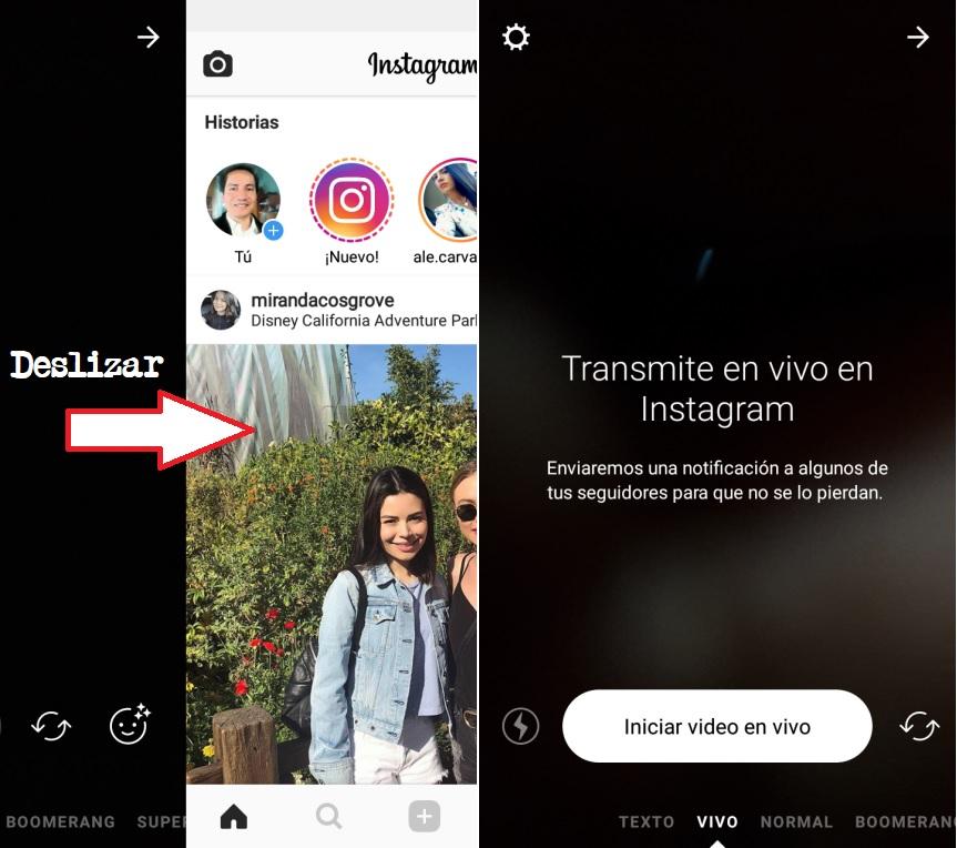 transmision en vivo con Instagram Android