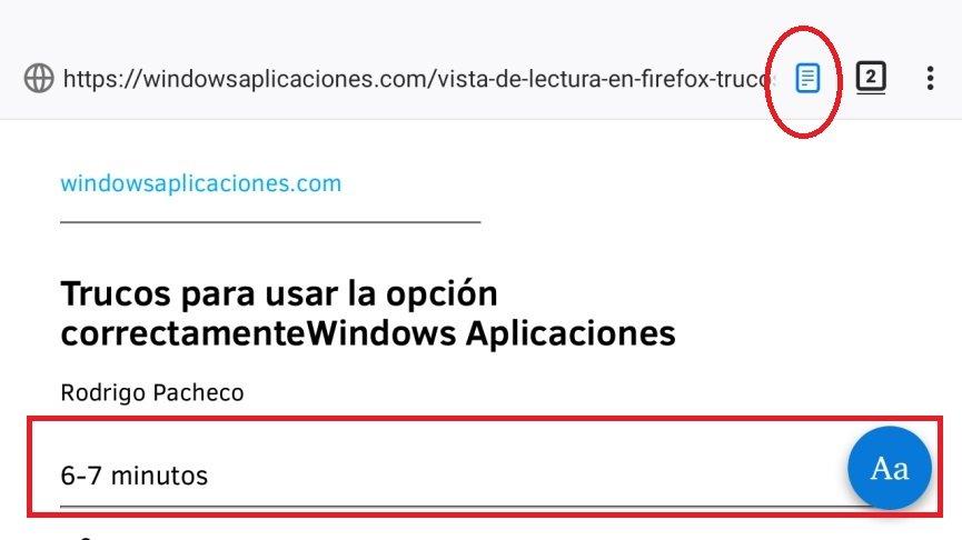 modo lectura en Firefox Android