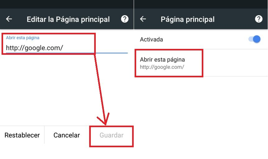 pagina de inicio en Google Chrome Android