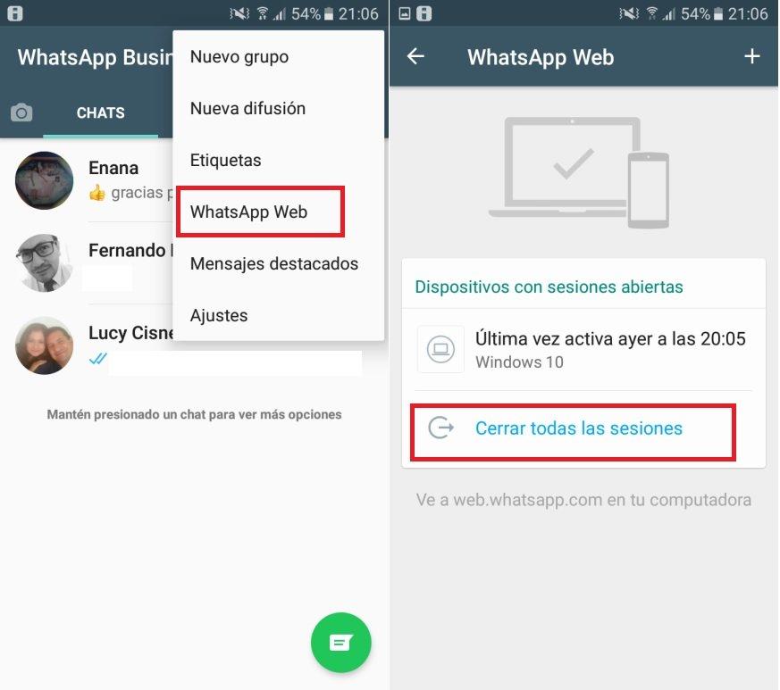 WhatsApp Android web