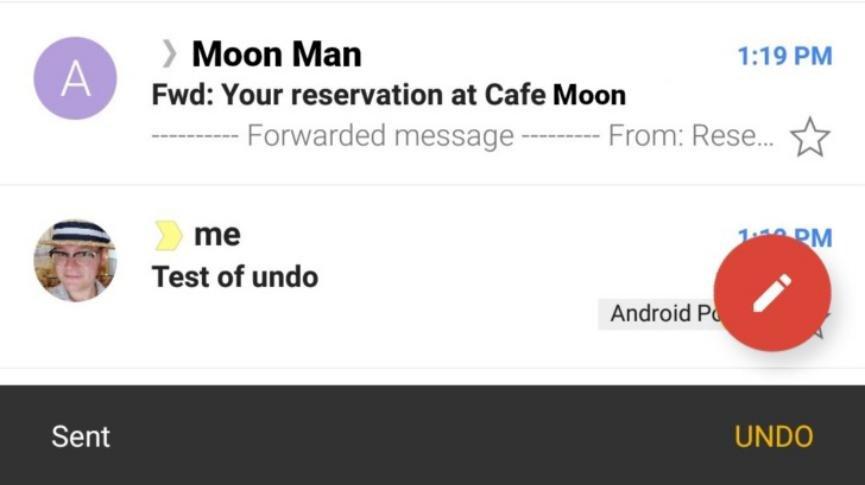 deshacer mensajes enviados en Gmail Android
