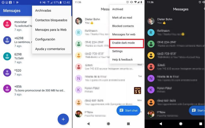 modo nocturno en Mensajes Android