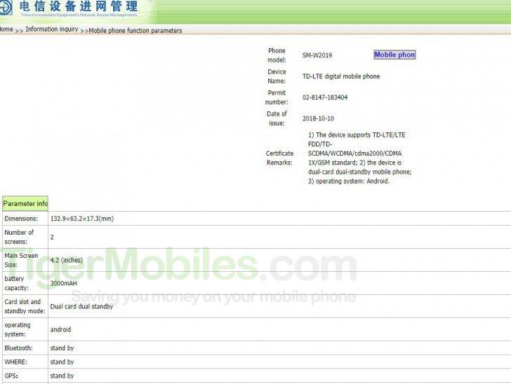 Samsung W2019 2 pantallas TENAA
