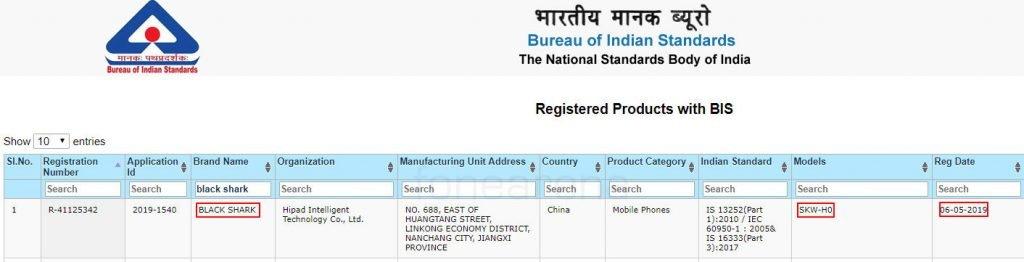 Xiaomi Black Shark 2 certificacion BIS